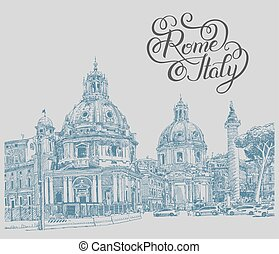 original digital drawing of Rome Italy cityscape with lettering
