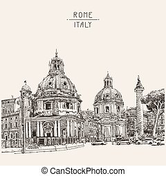 drawing of Rome Italy cityscape with lettering inscription