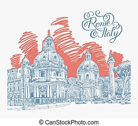 original digital drawing of Rome Italy cityscape