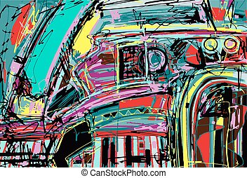original digital painting of abstraction composition