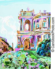 painting of opera theater, Odessa, Ukraine - original...