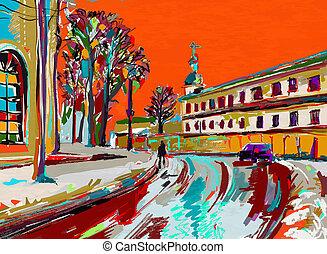 original digital painting of winter cityscape. Modern...