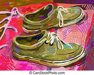 original, digital, quadro, sapato