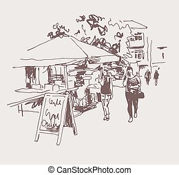 original digital sepia sketch of street cafe in Kyiv