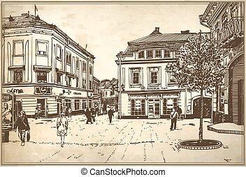 sketch vector illustration of Uzhgorod cityscape - original...