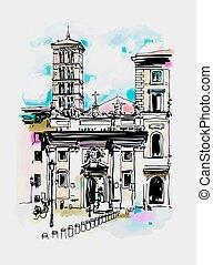 original digital watercolor drawing of Rome street, Italy