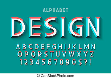 Original display font with facets, alphabet, letters