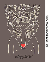 original doodle christmas deer, concept winter illustration, merry christmas! happy new year!