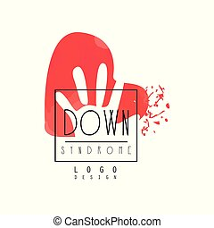 Original Down Syndrome logo for medical or wellness center. Vector emblem with abstract red heart with child palm/hand. Autism Awareness Day
