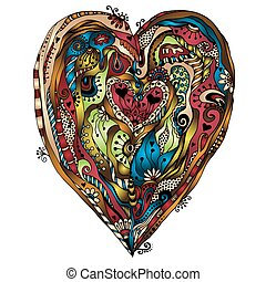 Original drawing doddle heart. - Template frame design for...