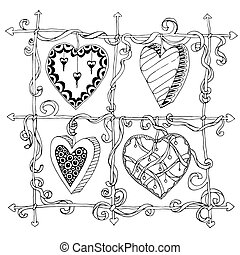 Original drawing doodle hearts. Template frame design for...