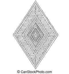 Original drawing ethnic tribal doddle rhombus 3. Black and...