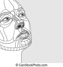 original drawing women portrait construction. Vector...