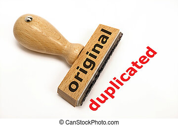 rubber stamp marked with original and copy duplicated