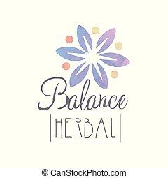 Original emblem template with watercolor flower and lettering. Herbal balance. Purity natural element. Wellness and alternative medicine concept. Vector design