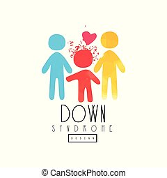 Original emblem with family, child with Down Syndrome. Vector design for wellness center, charitable organization or postcard for Autism Day