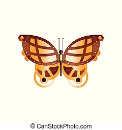 Original flat vector icon of wonderful butterfly with gradients and texture on the wings. Abstract design for book, greeting card or poster