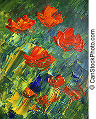 original, flowers., vermelho, arte, quadro