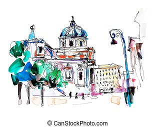 original freehand watercolor travel card from Rome Italy
