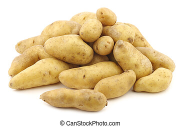 "original french ""ratte""potatoes (Solanum tuberosum) on a white background"