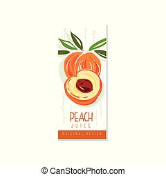Original fruit promo banner with sweet peach. Hand drawn label for juice, jam or yogurt packaging. Natural vegan nutrition. Summer beverage. Colorful vector design