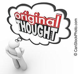 original, gedanke, 3d, wörter, denker, kreativ, phantasievoll, neue idee