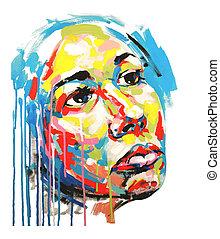 acrylic painting color portrait of women