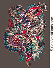 original hand draw line art ornate flower design. Ukrainian trad
