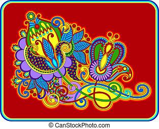 original hand draw line art ornate flower design.