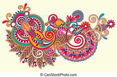 original hand draw line art ornate flower design