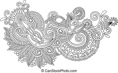 original hand draw line art ornate flower design - black and...
