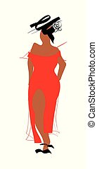 Original Hand-Drawing African American Fashion Model. Plus size, curvy woman with runyway doodle red dress.