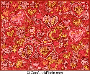 drawing heart shape background in red colors to valentines day