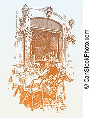 original hand drawing of european street outdoor cafe in Rome, I