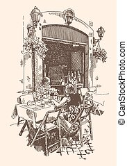 drawing of european street outdoor cafe in Rome, Italy
