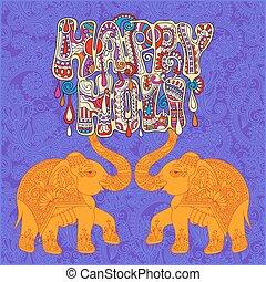 original Happy Holi design with two elephants