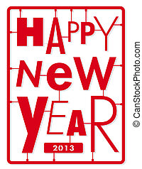 Happy new year card. Typography let