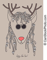 original hipster christmas deer with sunglasses and dreads...