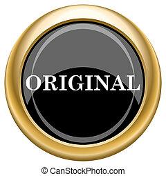 Original icon - Shiny glossy icon with white design on black...