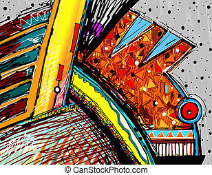 original illustration of abstract art digital painting,...