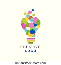Original illustration of electric light bulb made of colorful circles for creative idea logo. Children creativity and development center label. Power of thinking concept. Flat vector isolated on white