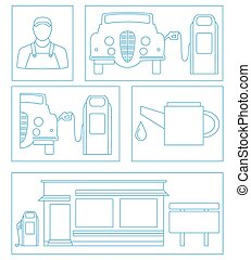 original illustration of symbols and objects for your gas station design