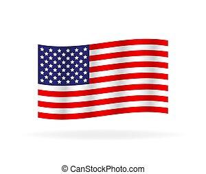 original, ilustração, simples, estado, flag., unidas, américa, vetorial, estoque