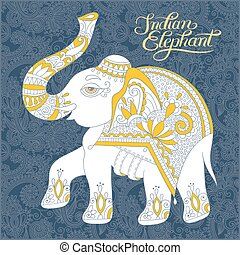 original indian pattern with elephant and handwritten inscriptio
