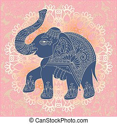 original indian pattern with elephant for invitation