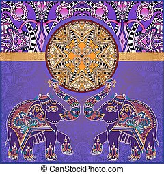 original indian pattern with two elephants for invitation, cover