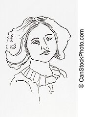 Original ink line drawing. Portrait of an Edwardian young...