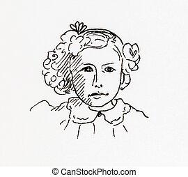 Original ink line drawing. Portrait of an Edwardian girl....
