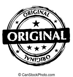 original ink stamp - grunge ink stamp with worn effect and...