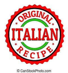 Original italian recipe label or sticker on white...
